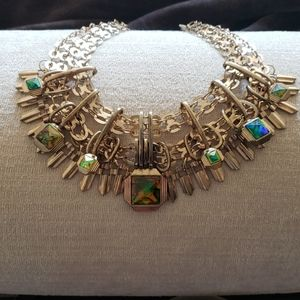Gold multi layer iridescent stone Necklace